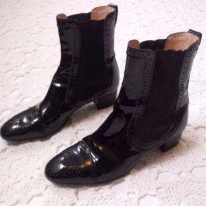 Tods 36 Black Patent Leather Chelsea Ankle Boots 6